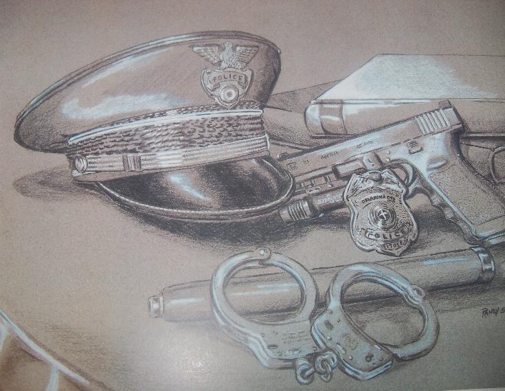Officer & Flag Full-Color Illustration Matted Print, 11x14 $50 Premium ...